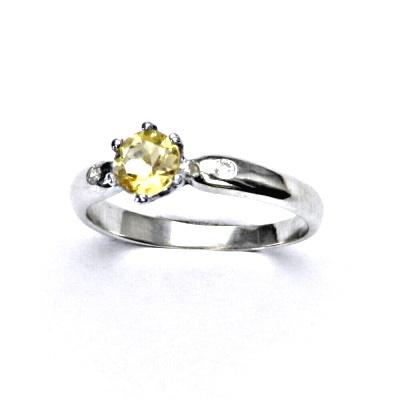 Zlatý prsten s diamanty a přírodním citrínem pálený, bílé zlato, VLZDR048