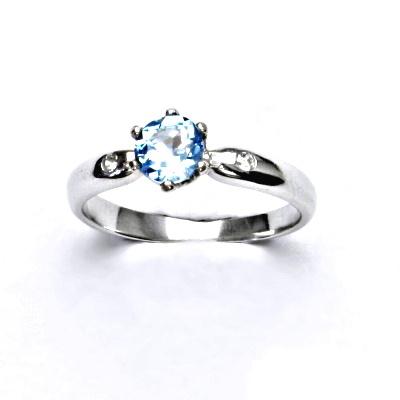 Zlatý prsten s čirými zirkony a přírodním topazem swiss,bílé zlato,VLZDR048