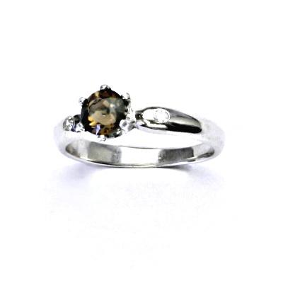 Zlatý prsten s diamanty a přírodní záhnědou, bílé zlato, VLZDR048