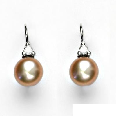 Náušnice bíle zlato, šperky zlaté, přírodní perla růžová, VE 120