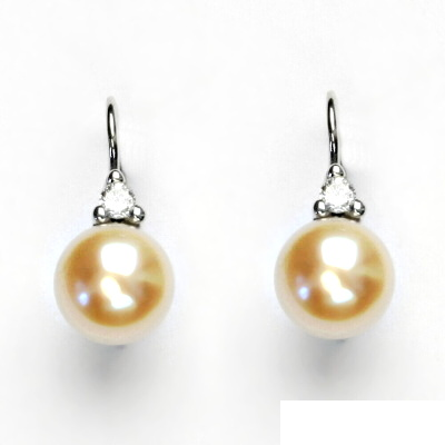 Náušnice bíle zlato, šperky zlaté, přírodní perla lososová, VE 120