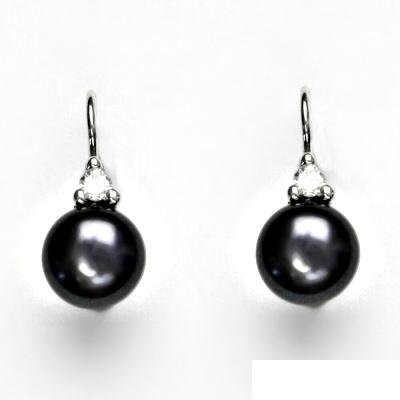 Náušnice bíle zlato, šperky zlaté, přírodní perla černá, VE 120