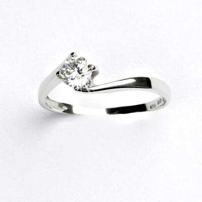 Zlatý prsten, bílé zlato, prstýnek se zirkonem, čirý zirkon, VR 282