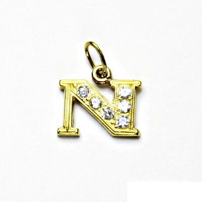 5329cddaa Zlatý přívěsek, žluté zlato, písmeno N, čiré zirkony, přívěšek, P 1106