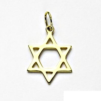 Zlatý přívěsek, žluté zlato, Davidova hvězda, přívěšek, P 731