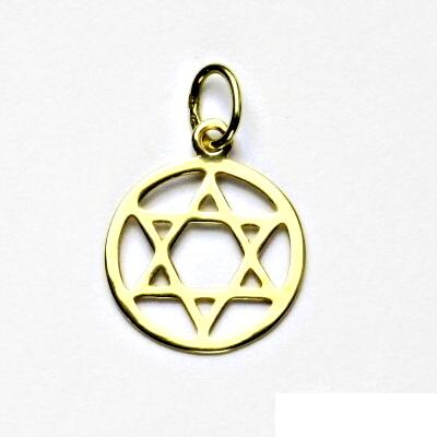 Zlatý přívěsek, žluté zlato, Davidova hvězda v kruhu, přívěšek ze zlata , P 1314