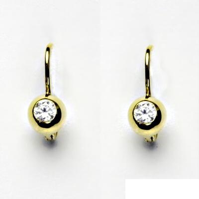 Zlaté náušnice, žluté zlato, náušnice ze zlata, čirý zirkon, VE 147