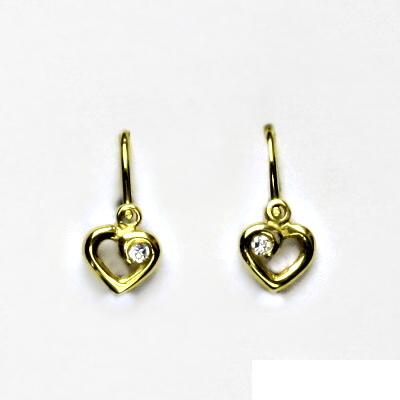 Zlaté náušnice, dětské, srdce, žluté zlato, náušnice ze zlata, VE 248