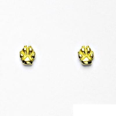 Zlaté náušnice, psí tlapky, náušnice na šroubek, žluté zlato, NŠ 1334