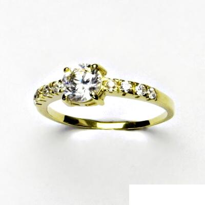 Zlatý prsten, čiré zirkony, prsýnek ze zlata, VR 312