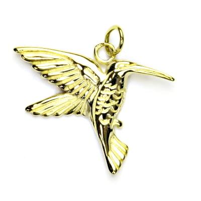Zlatý přívěsek, žluté zlato, kolibřík, přívěšek ze zlata, P 165