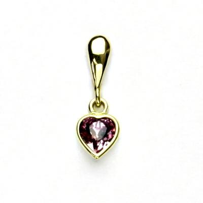 Zlatý přívěsek, žluté zlato, srdíčko se Swarovski krystalem violet, P 1315/22