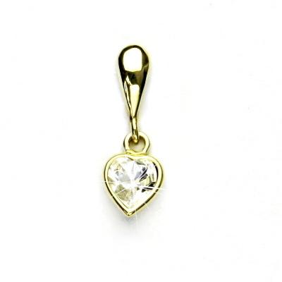 Zlatý přívěsek,žluté zlato,srdíčko se Swarovski krystalem čirý, P 1315/22
