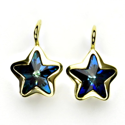 Zlaté náušnice,žluté zlato,hvězdičky,Swarovski krystal bermuda blue,NK 1325