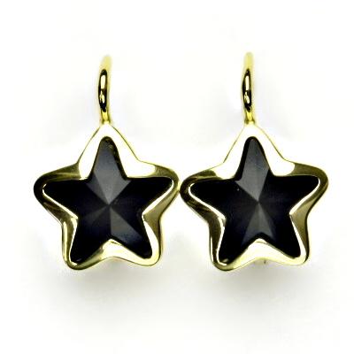Zlaté náušnice,žluté zlato,hvězdičky,Swarovski krystal jet,NK 1325