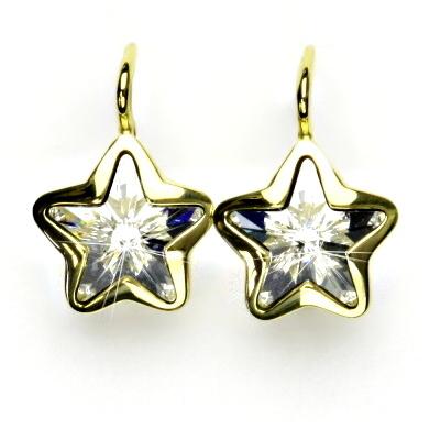 Zlaté náušnice,žluté zlato,hvězdičky,Swarovski krystal čirý,NK 1325