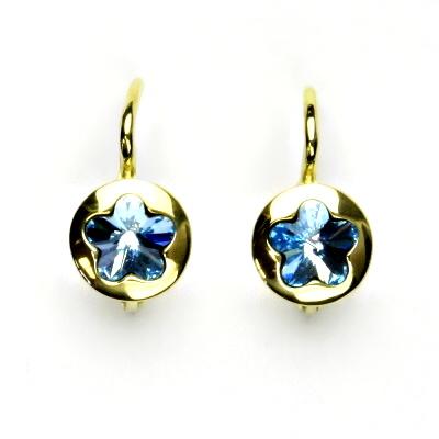 Zlaté náušnice, žluté zlato, Swarovski krystal akvamarin, kytičky, NK 1300
