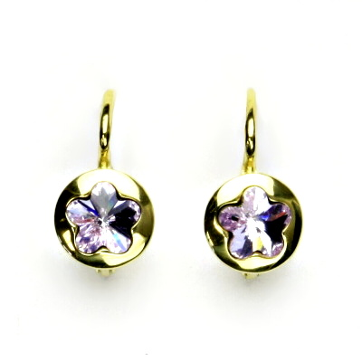 Zlaté náušnice, žluté zlato, Swarovski krystal violet, kytičky, NK 1300