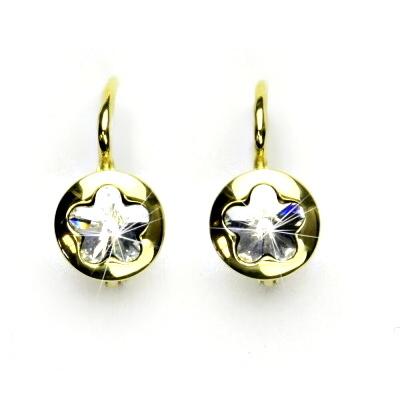 Zlaté náušnice, žluté zlato, Swarovski krystal čirý, kytičky, NK 1300