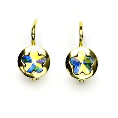 Zlaté náušnice, žluté zlato, Swarovski krystal AB, kytičky, NK 1300