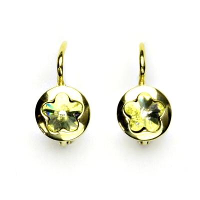 Zlaté náušnice, žluté zlato, Swarovski krystal jonquil, kytičky, NK 1300