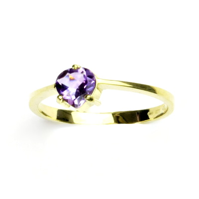 Zlatý prsten,žluté zlato, přírodní světlý ametyst, prstýnek ze zlata, T 1362