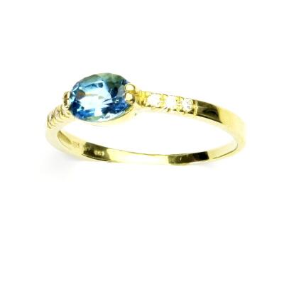 Zlatý prsten, žluté zlato, prstýnek s přírodním topazem swiss, VR 237