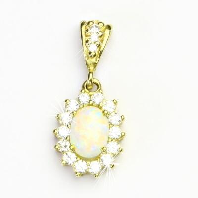 Zlatý přívěsek Kate, žluté zlato, syntetický bílý opál, číré zirkony, P 1507/2