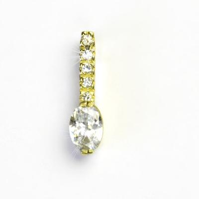Zlatý přívěsek, žluté zlato, čiré zirkony, přívěšek ze zlata, VP 23
