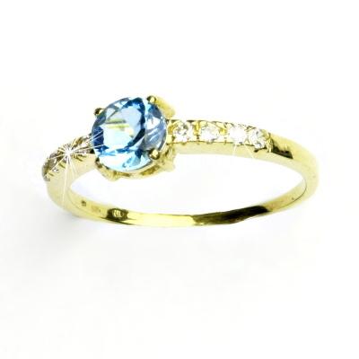 Zlatý prsten, čiré zirkony, prsýnek ze zlata, přírodní topaz swiss, VR 312