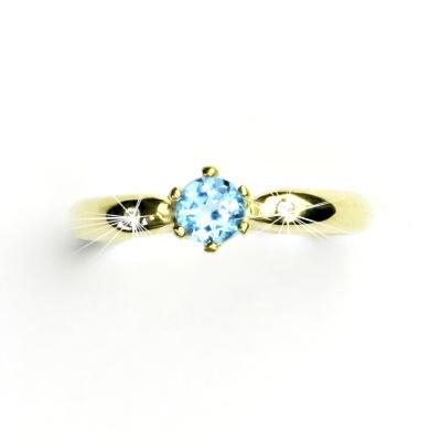 Zlatý prsten s briliantem (diamant) a topazem, žluté zlato, VLZDR048
