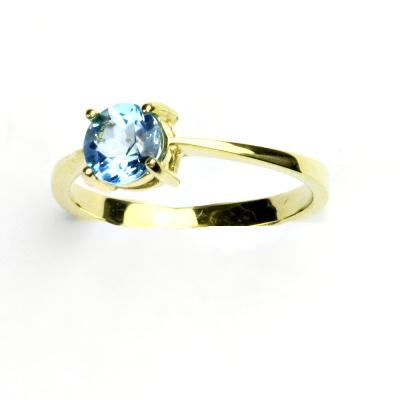 Zlatý prsten, žluté zlato, prstýnek s přírodním topazem swiss, T 1250
