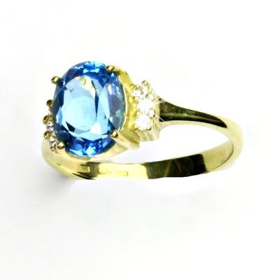 Zlatý prsten, žluté zlato, prstýnek s čirými zirkony, přírodní topaz swiss,T 1497