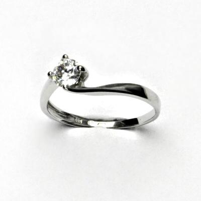 Zlatý prsten, bílé zlato, čirý zirkony, prstýnek ze zlata, VR 282