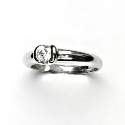 Zlatý prsten, bílé zlato, prstýnek ze zlata, čirý zirkon, VR 8