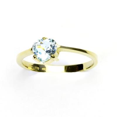 Zlatý prsten, žluté zlato, prstýnek s topazem, přírodní topaz sky, T 1362