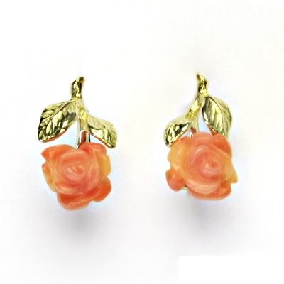 Zlaté náušnice,přírodní lososový korál dobarvovaný,růže, žluté zlato,NK 1359
