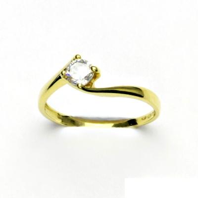 Zlatý prsten, žluté zlato, diamant, prstýnek s diamantem, VR 282
