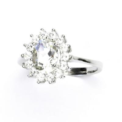 Zlatý prsten, bílé zlato, Kate,přírodní green ametyst, prstýnek se zirkony, T 1507