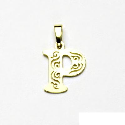Zlatý přívěsek, žluté zlato, písmenko P, přívěšek ze zlata, 0,51 g