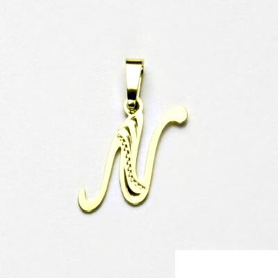 Zlatý přívěsek, žluté zlato, písmenko N, přívěšek ze zlata, 0,41 g