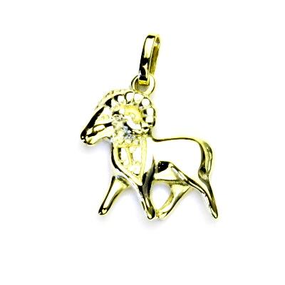 Zlatý přívěsek, beran, žluté zlato, znamení zvěrokruhu, 1,56 g