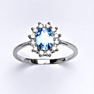 Zlatý prsten Kate, přírodní topaz swiss, bílé zlato, prstýnek ze zlata, šperky s topazem, T 1480