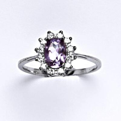 Zlatý prsten Kate, přírodní ametyst, bílé zlato, prstýnek ze zlata, šperky s ametystem, T 1480