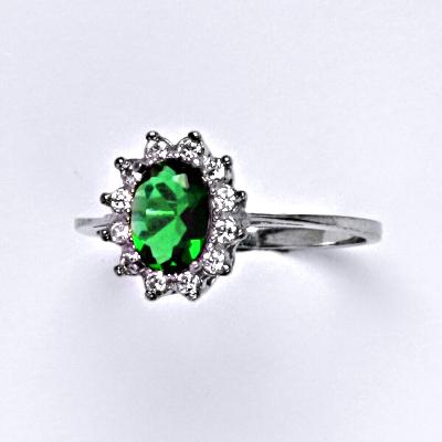 Zlatý prsten Kate, zirkon, syntetický smaragd, bílé zlato, prstýnek ze zlata, T 1480
