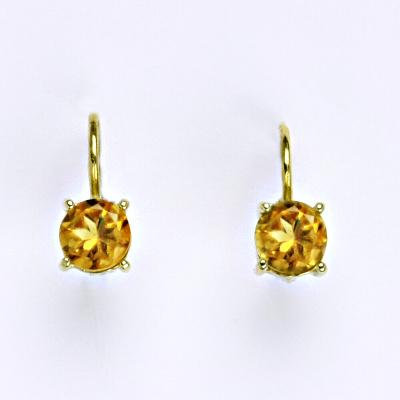 Zlaté náušnice,přírodní citrím, žluté zlato 14 ct, váha 2,01 g,NK 1250