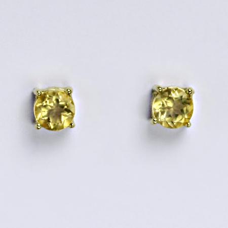 Zlaté náušnice, přírodní citrín pálený, žluté zlato 14 kt, NŠ 1251