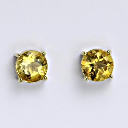 Zlaté náušnice,přírodní citrín pálený, žluté zlato 14 ct, NŠ 1252