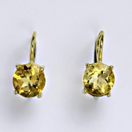 Zlaté náušnice,přírodní citrín, žluté zlato 14 ct, váha 2,45 g,NK 1252