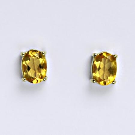 Zlaté náušnice,přírodní citrín pálený, žluté zlato 14 ct, váha 1,74 g,NŠ 1246